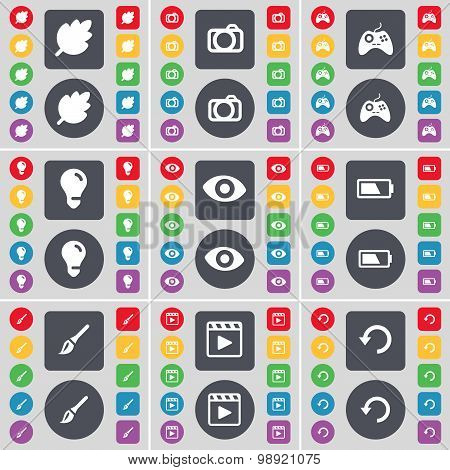 Leaf, Camera, Gamepad, Light Bulb, Vision, Battery, Brush, Media Player, Reload Icon Symbol. A Large