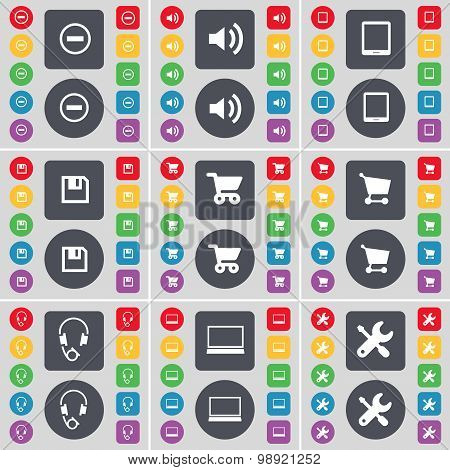 Minus, Sound, Tablet Pc, Floppy, Shopping Cart, Headphones, Laptop, Wrench Icon Symbol. A Large Set