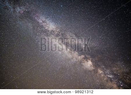 Straight up view of the Milky Way galaxy across the night sky