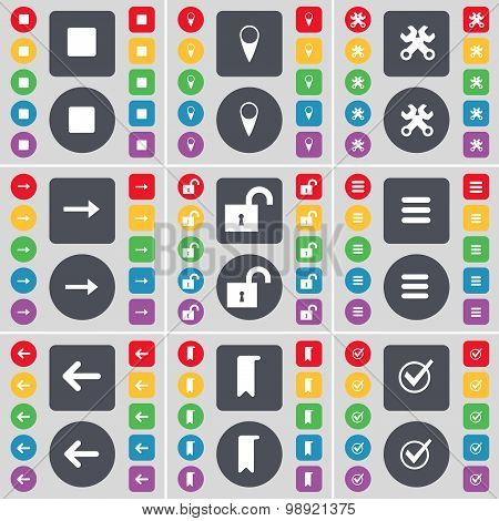 Media Stop, Checkpoint, Wrench, Arrow Right, Lock, Apps, Arrow Left, Marker, Tick Icon Symbol. A Lar