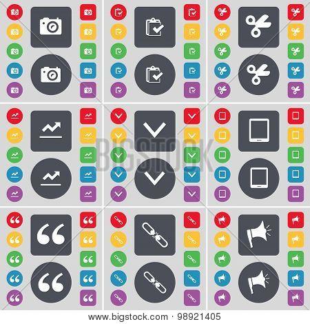 Camera, Survey, Scissors, Graph, Arrow Down, Tablet Pc, Quotation Mark, Link, Megaphone Icon Symbol.