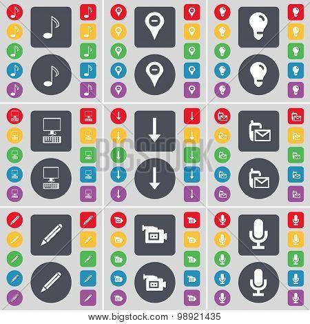Note, Checkpoint, Light Bulb, Pc, Arrow Down, Sms, Pencil, Film Camera, Microphone Icon Symbol. A La