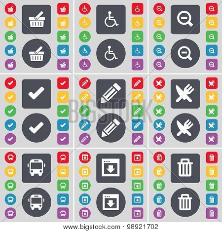 Basket, Disabled Person, Magnifying Glass, Tick, Pencil, Fork And Knife, Bus, Window, Trash Can Icon
