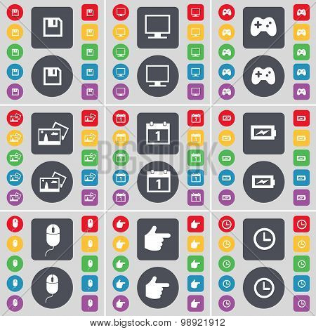 Floppy, Monitor, Gamepad, Picture, Calendar, Charging, Mouse, Hand, Clock Icon Symbol. A Large Set O
