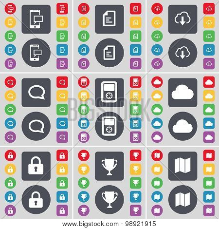 Sms, Text File, Cloud, Chat Bubble, Player, Cloud, Lock, Cup, Map Icon Symbol. A Large Set Of Flat,