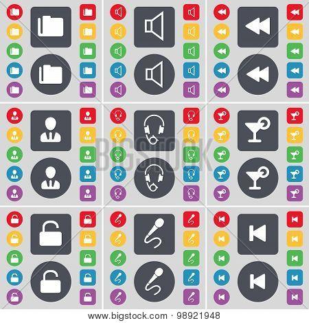 Folder, Sound, Rewind, Avatar, Headphones, Cocktail, Lock, Microphone, Media Skip Icon Symbol. A Lar