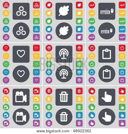Gear, Leaf, Keyboard, Heart, Wi-fi, Survey, Film Camera, Trash Can, Hand Icon Symbol. A Large Set Of