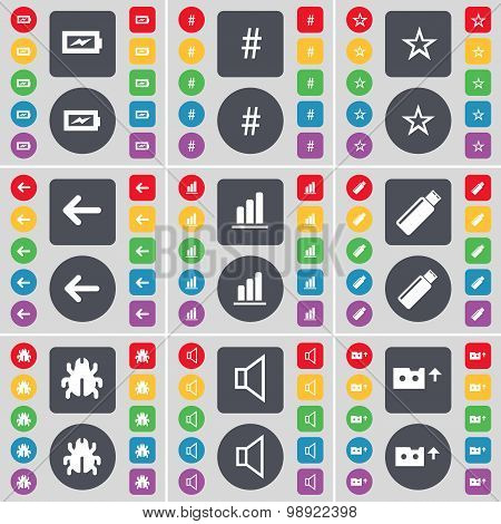 Charging, Hashtag, Star, Arrow Left, Diagram, Usb, Bug, Sound, Cassette Icon Symbol. A Large Set Of