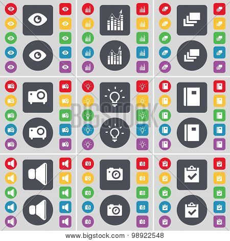 Vision, Graph, Gallery, Projector, Light Bulb, Notebook, Sound, Camera, Survey Icon Symbol. A Large