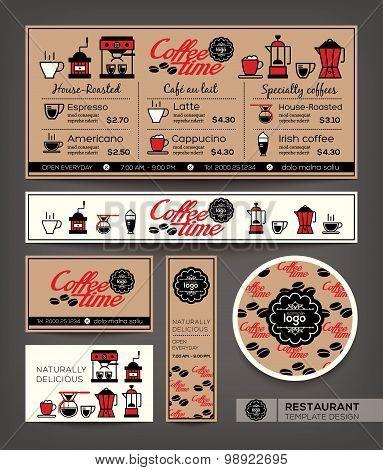 Coffee Shop Cafe Set Menu Design Template