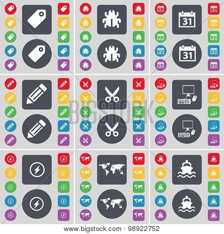 Tag, Bug, Calendar, Pencil, Scissors, Pc, Flash, Globe, Ship Icon Symbol. A Large Set Of Flat, Color