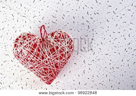 Handmade Heart From Threads For Valentine's Day.