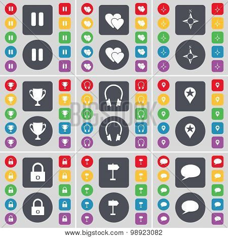 Pause, Heart, Compass, Cup, Headphones, Checkpoint, Lock, Signpost, Chat Bubble Icon Symbol. A Large
