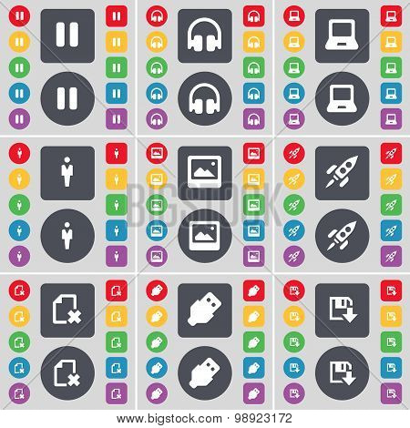Pause, Headphones, Laptop, Silhouette, Window, Rocket, File, Usb, Floppy Icon Symbol. A Large Set Of