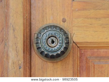 Keyhole Door Handle On Brown Wood Door