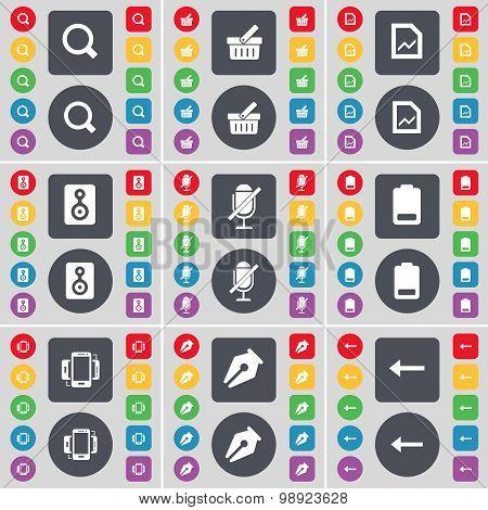 Magnifying Glass, Basket, Graph File, Speaker, Microphone, Battery, Smartphone, Ink Pen, Arrow Left