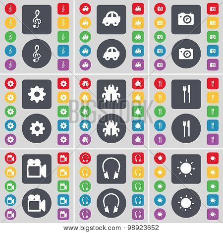 Clef, Car, Camera, Gear, Bug, Fork And Knife, Film Camera, Headphone, Light Icon Symbol. A Large Set