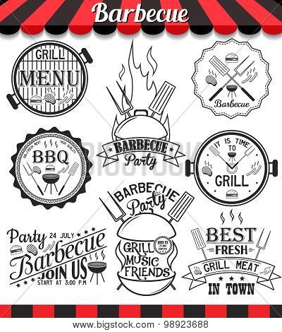 Vintage Collection Of Vector Barbecue Signs, Symbols And Icons. Set Of Grill Design Elements.