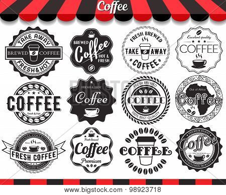 Set Of Vintage Retro Coffee Elements Styled Design, Frames, Vintage Labels And Badges