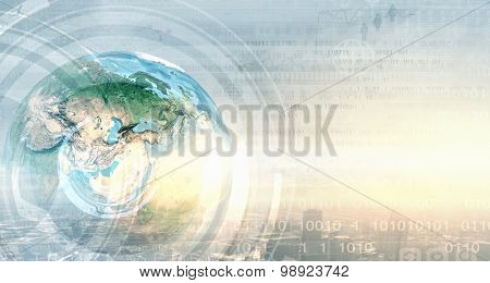 Earth planet on technology background. Elements of this image are furnished by NASA
