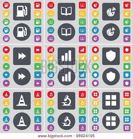 Gas Station, Book, Pizza, Rewind, Diagram, Badge, Cone, Microscope, Apps Icon Symbol. A Large Set Of