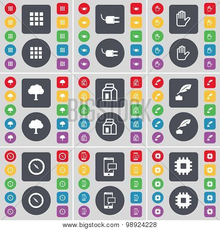 Apps, Socket, Hand, Tree, Packing, Ink Pot, Compass, Sms, Processor Icon Symbol. A Large Set Of Flat
