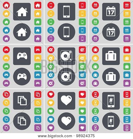 House, Smartphone, Calendar, Gamepad, Gramophone, Suitcase, Copy, Heart, Smartphone Icon Symbol. A L