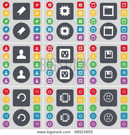 Marker, Processor, Window, Avatar, Socket, Floppy, Reload, Smartphone, Smile Icon Symbol. A Large Se