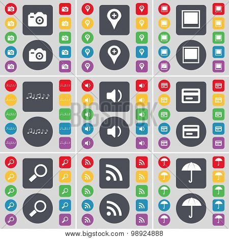 Calendar, Checkpoint, Window, Note, Sound, Credit Card, Magnifying Glass, Wi-fi, Umbrella Icon Symbo