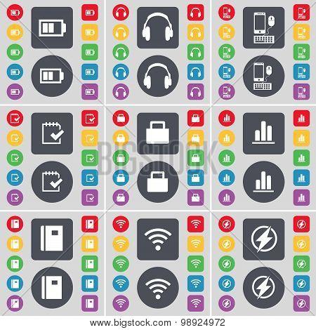 Battery, Headphones, Smartphones, Survey, Lock, Diagram, Notebook, Wi-fi, Flash Icon Symbol. A Large