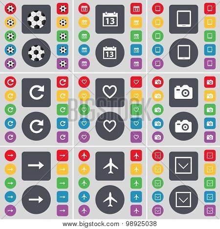 Ball, Calendar, Tablet Pc, Reload, Heart, Camera, Arrow Right, Airplane, Arrow Down Icon Symbol. A L