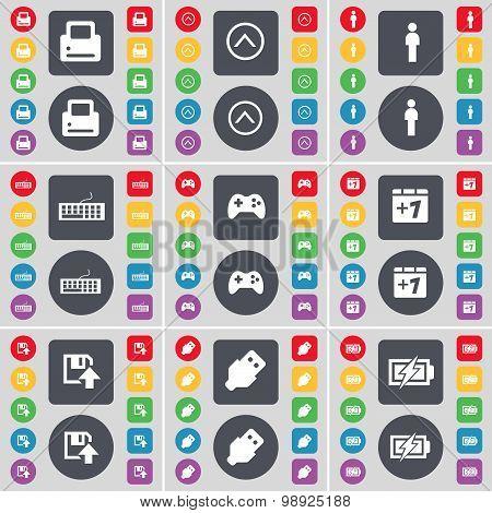 Printer, Arrow Up, Silhouette, Keyboard, Gamepad, Plus One, Floppy, Usb, Charging Icon Symbol. A Lar