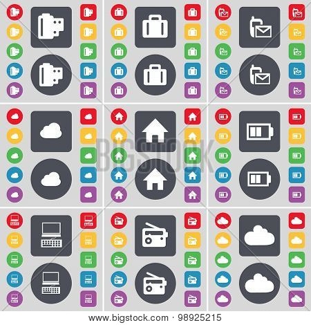 Negative Films, Suitcase, Sms, Cloud, House, Battery, Laptop, Radio, Cloud Icon Symbol. A Large Set