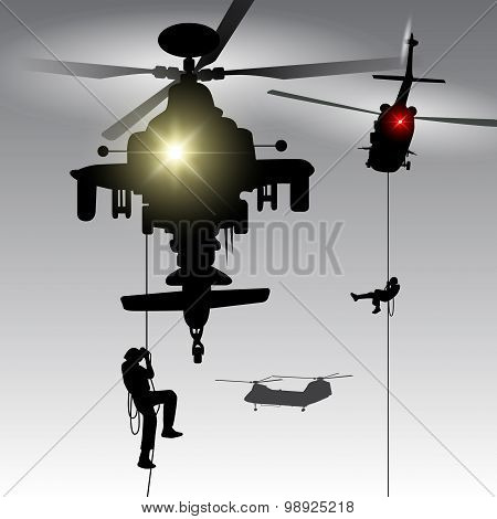 Helicopter With Landing Troops