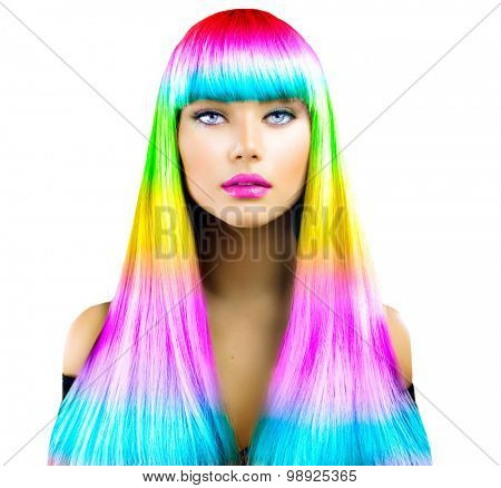 Beauty Fashion Model Girl with Colorful Dyed Hair. Colourful Long Hair. Portrait of a Beautiful Woman with Colorful Dyed Hair, professional hair Coloring. Colouring hair, fringe haircut