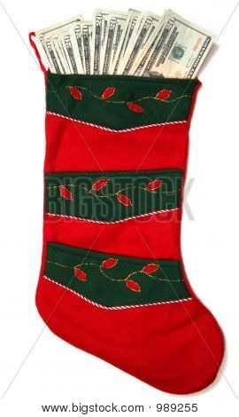 Vertical Red And Green Money Sock