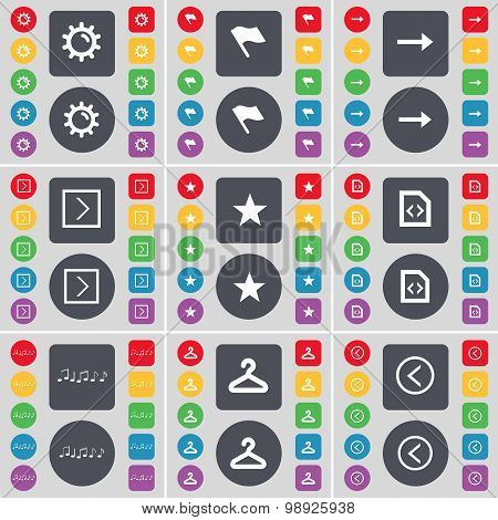 Gear, Flag, Arrow Right, Star, File, Note, Hanger, Arrow Left Icon Symbol. A Large Set Of Flat, Colo