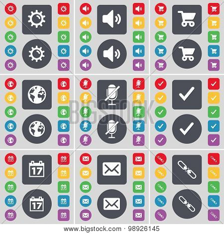 Gear, Sound, Shopping Cart, Earth, Microphone, Tick, Calendar, Message, Link Icon Symbol. A Large Se