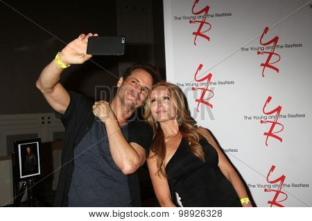 LOS ANGELES - AUG 15:  Christian LeBLanc, Tracey E. Bregman at the