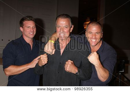 LOS ANGELES - AUG 15:  Steve Burton, Eric Braeden, Sean Carrigan at the