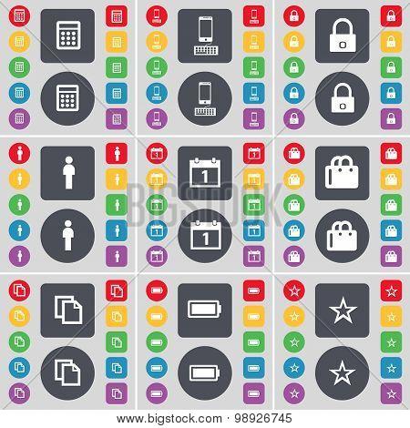 Calculator, Smartphone, Lock, Silhouette, Calendar, Shopping Bag, Copy, Battery, Star Icon Symbol. A