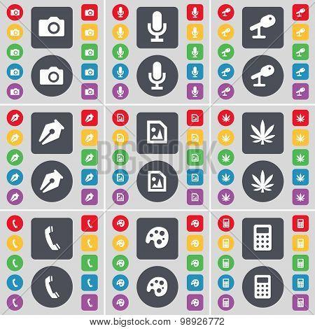 Camera, Microphone, Ink Pen, Media File, Marijuana, Receiver, Palette, Calculator Icon Symbol. A Lar
