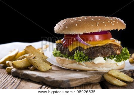 Homemade Burger With French Fries
