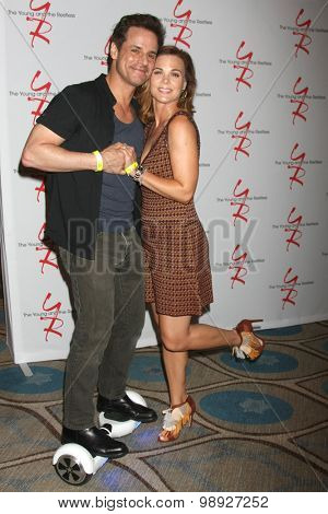 LOS ANGELES - AUG 15:  Christian LeBlanc, Gina Tognoni at the
