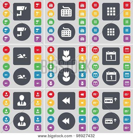 Cctv, Keyboard, Apps, Swimmer, Flower, Calendar, Avatar, Rewind, Cassette Icon Symbol. A Large Set O