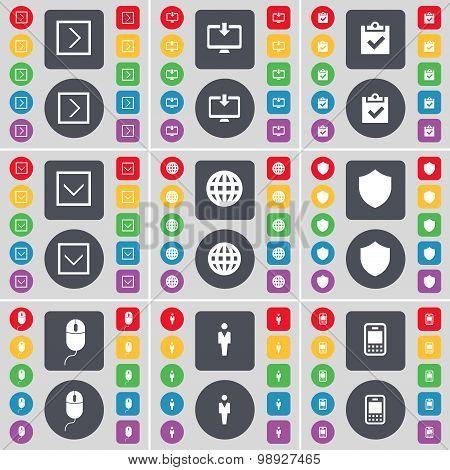 Arrow Right, Monitor, Survey, Arrow Down, Globe, Badge, Mouse, Silhouette, Mobile Phone Icon Symbol.
