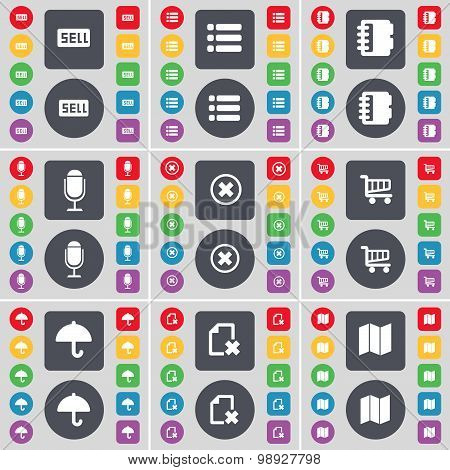 Sell, List, Notebook, Microphone, Stop, Shopping Cart, Umbrella, File, Map Icon Symbol. A Large Set