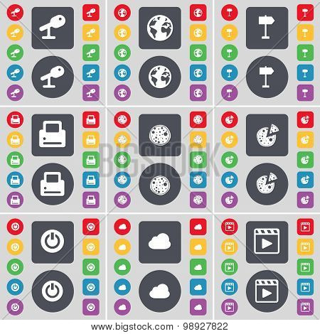 Microphone, Earth, Signpost, Printer, Pizza, Power, Cloud, Media Player Icon Symbol. A Large Set Of