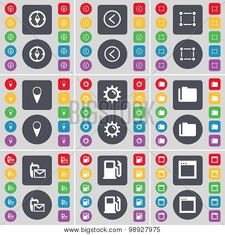 Compass, Arrow Left, Frame, Checkpoint, Gear, Folder, Sms, Gas Station, Window Icon Symbol. A Large
