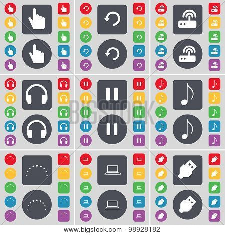 Hand, Reload, Router, Headphones, Pause, Note, Star, Laptop, Usb Icon Symbol. A Large Set Of Flat, C